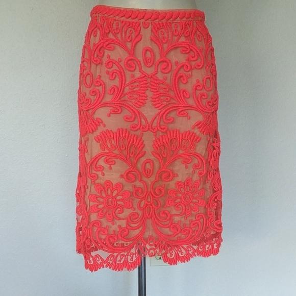 Baraschi Dresses & Skirts - Anthropologie Bright coral embroidered skirt